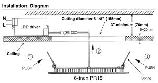 lighting scheme. Installation Diagram Low Profile Recessed Lighting Scheme Drawing Led Driver Cutting Diameter Minimum Size Ceiling Push Spring