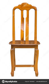 wooden chair front view. Front View Of Wooden Chair Isolated On White With Clipping Path \u2014 Stock Photo