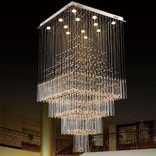 modern k9 crystal chandelier square led pendant light luxurious fashion stairs lamp living room lighting led farmhouse chandelier modern chandelier lighting