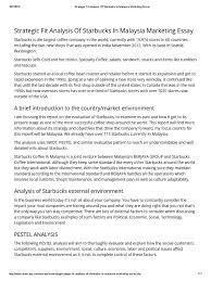 strategic fit analysis of starbucks in marketing essay strategic fit analysis of starbucks in marketing essay starbucks coffee