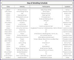 Day Of Wedding Timeline Template Excel Caseyroberts Co