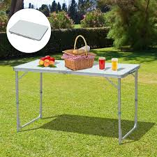 cad 59 99 outsunny 4ft garden camping table picnic bbq desk adjule foldable with carrying handle silver backyard party w carry canada 25093584510