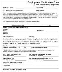 Employment Verification Templates Verification Of Employment Form 9 Free Word Pdf
