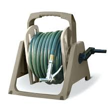 suncast garden hose reel foot portable tote or wall mount garden hose reel taupe tsam