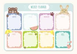 Printable Weekly Schedules Printable Weekly Planner Calendar Template Download Free Vector