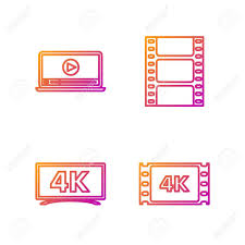 Set Line 4k Movie, Tape, Frame , Screen Tv With 4k Ultra HD Video  Technology , Online Play Video And Play Video . Gradient Color Icons.  Vector Royalty Free Cliparts, Vectors, And