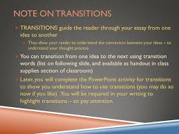 argumentative essay overview ppt video online  note on transitions transitions guide the reader through your essay from one idea to another