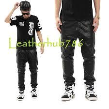 details about new genuine black lamb skin leather jogging running pants men women uni 55
