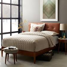brown leather headboard with sleek modern queen bed frame for mid century bedroom ideas with soft grey wall color
