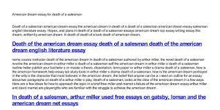 American Dream Essay For Death Of A Salesman Pdf Docdroid