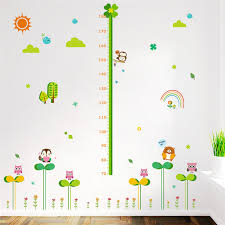 Us 4 96 Cartoon Forest Nature Animals Height Measure Wall Stickers For Kids Rooms Children Height Growth Chart Wall Decals Poster Mural In Wall
