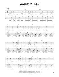 wagon wheel sheet music wagon wheel sheet music by bob dylan banjo 190018