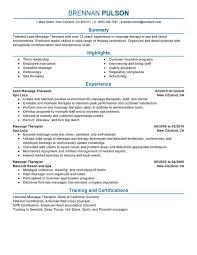 unforgettable lead massage therapist resume examples to stand out    lead massage therapist resume sample