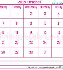 2019 October Calendar October 2019 Calendar Portrait