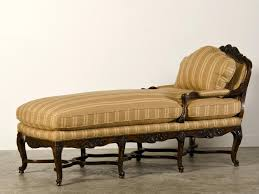 ... Classic Brown Striped Pattern Chaise Lounge Featuring Dark Stained  Wooden Frame In Carving Together Rolled Sofa