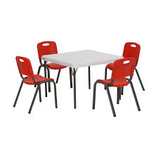 lifetime 5 piece red and white children s table and chair set