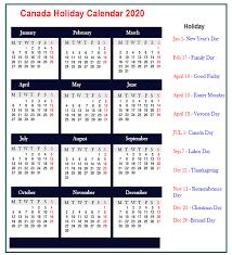 Canada 2020 Calendar Best Printable Calendar