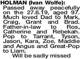 HOLMAN Ivan   Obituaries   The West Announcements