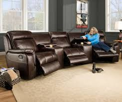 luxurious 3 recliner sectional sofa seat living room furniture set with high quality leather