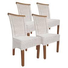 Esszimmer Stühle Set Rattanstühle Perth 4 Stück Weiß Sitzkissen Leinen Weiß