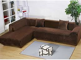couch covers for l shaped couches. Perfect Couches Amazoncom Getmorebeauty L Shape Sectional Thick Plush Velvet Couch  Stretch Sofa Cover SofaSlipcovers Coffee 33 Seats Home U0026 Kitchen Intended Covers For Shaped Couches V