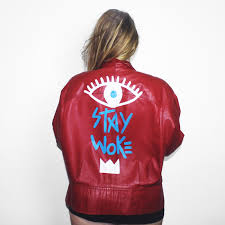 home new arrivals stay woke vintage leather jacket