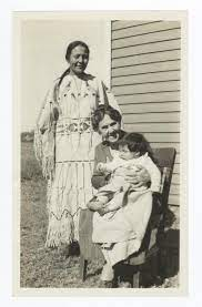 Three Lillies: Lillie Page, Lillie Page Riggs Howling Crane, Lillie Page  Howling Crane Jr. - G.E.E Lindquist Native American Photographs