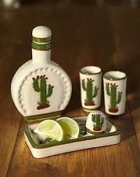 image is loading ceramic tequila gift set mexican cactus handpainted shot