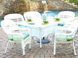 Design Ideas Furniture White Wicker Patio Dining Set with Round