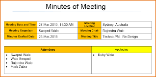 Meeting Minutes Template In Excel Participatory Governance Council ...