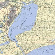 Texas Sabine Lake Nautical Chart Decor