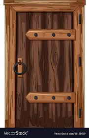 wooden door in old fashioned style vector image