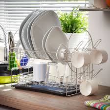 Kitchen Dish Drainer Rack Awesome Silver Chrome 2 Tier Dish Drainer Creative Stylish And
