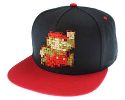 Amazon.com: Nintendo Super Mario Hat Pixel Character Black Snapback - One Size: Toys \u0026 Games