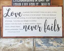 love never fails 1 corinthians 13 wood sign mother gift anniversary gift large wood sign scripture bible verse wall art on large wooden scripture wall art with metal scripture wall art love never fails 1 corinthians