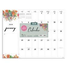 2020 Floral Script Desk Pad Calendar