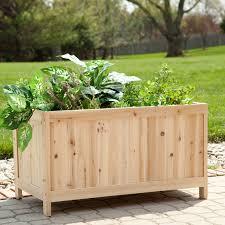 backyard wood raised veggie garden planter box with legs and herb plants ideas