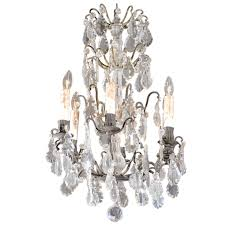 rococo revival french six light crystal chandelier with flower bobeches 1890s