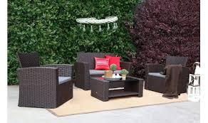 home outdoor conversationn sets baner garden n87 4 pieces outdoor furniture complete patio cushion wicker p e rattan garden set full chocolate