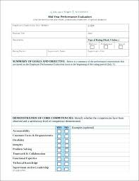 Goals Employee Performance Evaluation Adorable Probation Evaluation Form Template Mid Year Performance Review Goals