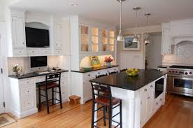breathtaking kitchen ideas with cool three brushed nickel pendant lights over white solid pine wood kitchen island using black granite tops also antique antique white pendant lighting
