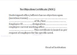 No Objection Certificate Noc No Complaint Enquiry
