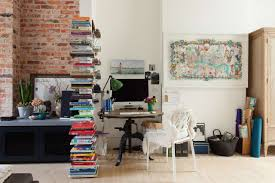 Office desk in living room Ultra Modern Modern image Credit Cathy Pyle Apartment Therapy 10 Perfect Living Room Home Office Nooks Short On Space But Not