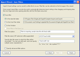 Help Online Origin Help Import Wizard The Save Filters Page