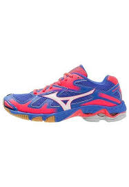 womens wave bolt 5 volleyball shoes dazzling blue white diva pink white