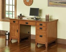 image of small corner office desk and cabinets