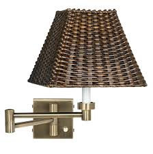 hampton bay swing arm plug in wall sconce antique brass with wicker shade plug in swing arm wall lamp swing arm sconce plug in swing arm plug in wall sconce