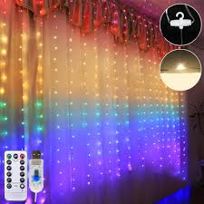 Outdoor Led String Lights With Remote Control 1 5m 2m Waterproof Usb Led Rainbow Curtain String Light With Remote Control For Indoor Outdoor Wedding Party