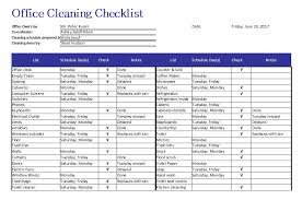 5 Free Sample Office Cleaning Schedule Templates Openoffice Calc