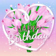 happy birthday pink and green happy birthday vector illustration with bouquet of pink tulips and